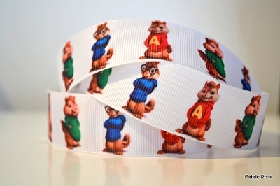 Printed Grosgrain Ribbon - Chipmonks  - 25mm
