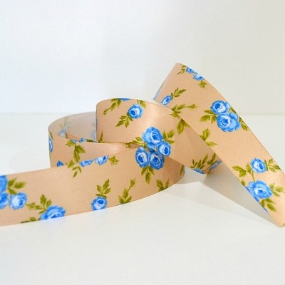 Printed Floral Satin Ribbon - Spring Garden - Beige 25mm