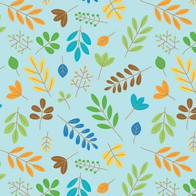 Riley Blake Designs - Zoofari - Leaves in Blue