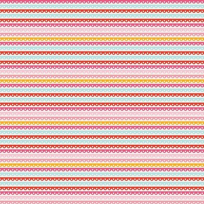 Riley Blake Designs - Girl Crazy - Scallop Stripe Ribbon in Pink