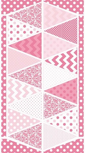 Riley Blake Designs - Hollywood Sparkle Bunting Panel in Pink