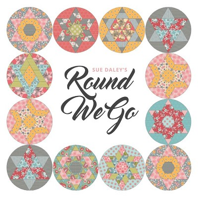 Sue Daley's - Round We Go Block of the Month Program in LINEN AND LAWN Fabric