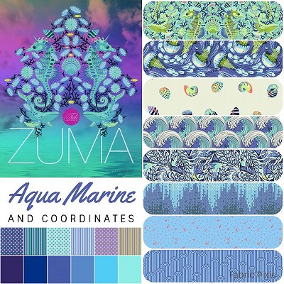Tula Pink - Zuma - Fat Quarter Bundle of 20 Pieces in Aqua Marine